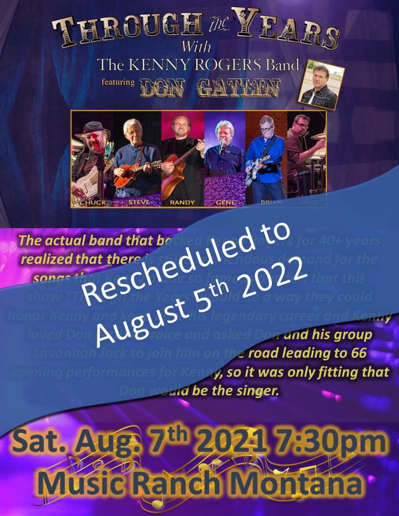 Kenny Rogers Band Poster - Rescheduled to 8-05-2022